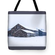 Four Barns In A Snowstorm Tote Bag