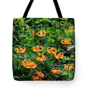 Four Butterflies On Turks Cap Lilies Tote Bag
