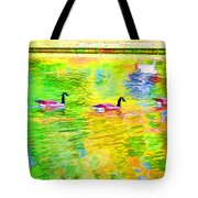 Four Canadian Geese In The Water 1 Tote Bag