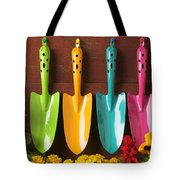 Four Colored Trowels  Tote Bag by Garry Gay