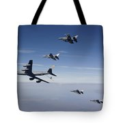 Four F-16s And A Kc-135 Fly Tote Bag by HIGH-G Productions