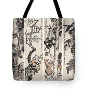Four Flowers Screen Tote Bag