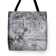 Four Food Groups Bw Tote Bag