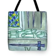 Four Of Swords Illustrated Tote Bag