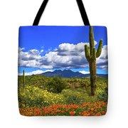 Four Peaks And Poppies, Springtime, Arizona Tote Bag