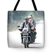 Four People On A Motorbike Tote Bag