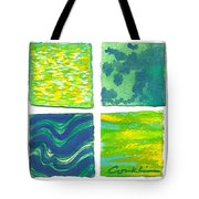 Four Squares Blue, Green, Yellow Tote Bag