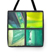 Four Squares Green, Yellow Green, Black Tote Bag