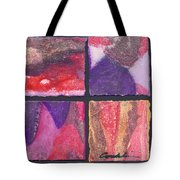Four Squares Purple, Red, Brown, Lavender Tote Bag
