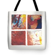 Four Squares Red Flow Tote Bag