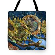 Four Sunflowers Gone To Seed, By Vincent Van Gogh, 1887, Kroller Tote Bag