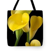 Four Yellow Calla Lilies Tote Bag by Garry Gay