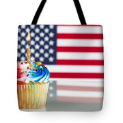 Fourth Of July Cupcake With Light Candle  Tote Bag
