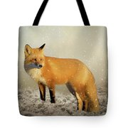 Fox In The Snowstorm - Painting Tote Bag