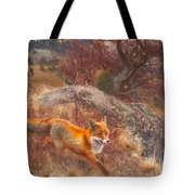 Fox With Hounds Tote Bag
