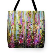 Foxgloves Large Painting Tote Bag