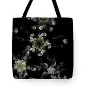 Fractal Floral Pattern Black Tote Bag