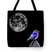 Fractal Moon And Bluebird Tote Bag