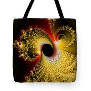 Fractal Spiral Art Yellow Red Metal Effect Tote Bag