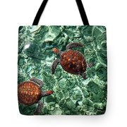 Fragile Underwater World. Sea Turtles In A Crystal Water. Maldives Tote Bag