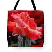 Fragmented Pink Rose Tote Bag