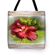 Framed Red Hibiscus Tote Bag