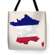 France Map Art With Flag Design Tote Bag