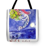 France Nice Soleil Fleurs Vintage 1961 Travel Poster By Marc Chagall Tote Bag
