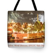 France Pavilion At Night With Fireworks, Epcot, Walt Disney Worl Tote Bag
