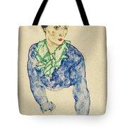 Frauenbildnis Mit Blauem Und Grunem Tote Bag