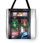 Fredricksburg Door Decorated For Christmas Tote Bag