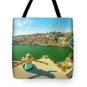Freedom Woman At Douro River Tote Bag