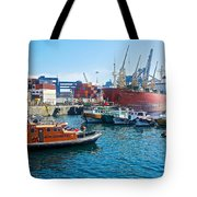 Freighter And Shipping Containers In Port Of Valpaparaiso-chile Tote Bag