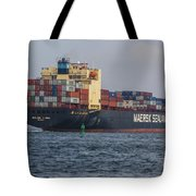 Freighter Headed Out To Sea Tote Bag