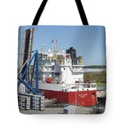 Freighter In Lock Of Saint Lawrence Tote Bag