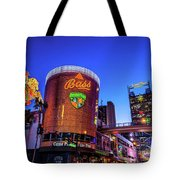 Fremont Street Entrance From The East At Dusk Tote Bag