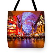 Fremont Street Experience At Night In Las Vegas Tote Bag by Bryan Mullennix