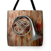 French Horn Hanging On Wall Tote Bag