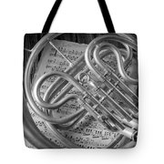 French Horn In Black And White Tote Bag