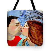 French Kissing At The Eiffel Tower Tote Bag