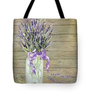 French Lavender Rustic Country Mason Jar Bouquet On Wooden Fence Tote Bag