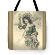 French Mother And Child Christmas Card Tote Bag
