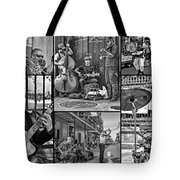 French Quarter Musicians Collage Bw Tote Bag