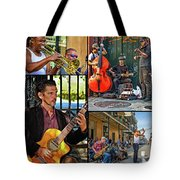 French Quarter Musicians Collage Tote Bag