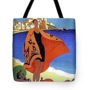 French Riviera, Woman On The Beach, Paris, Lyon, Mediterranean Railway Tote Bag