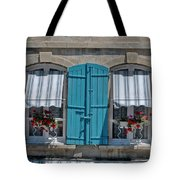 Shuttered Windows And Flowers Tote Bag