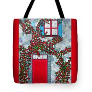 French Stone House And Rose Trellis Tote Bag