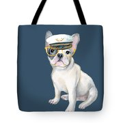 Frenchie French Bulldog Yellow Glasses Captains Hat Dogs In Clothes Tote Bag