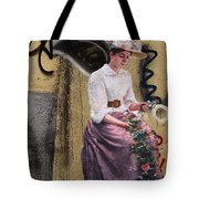Frescoe Painting Of A Woman In Traditional Dress With Flowers Am Tote Bag
