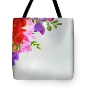 Fresh Freesia Flowers On Blue Tote Bag
